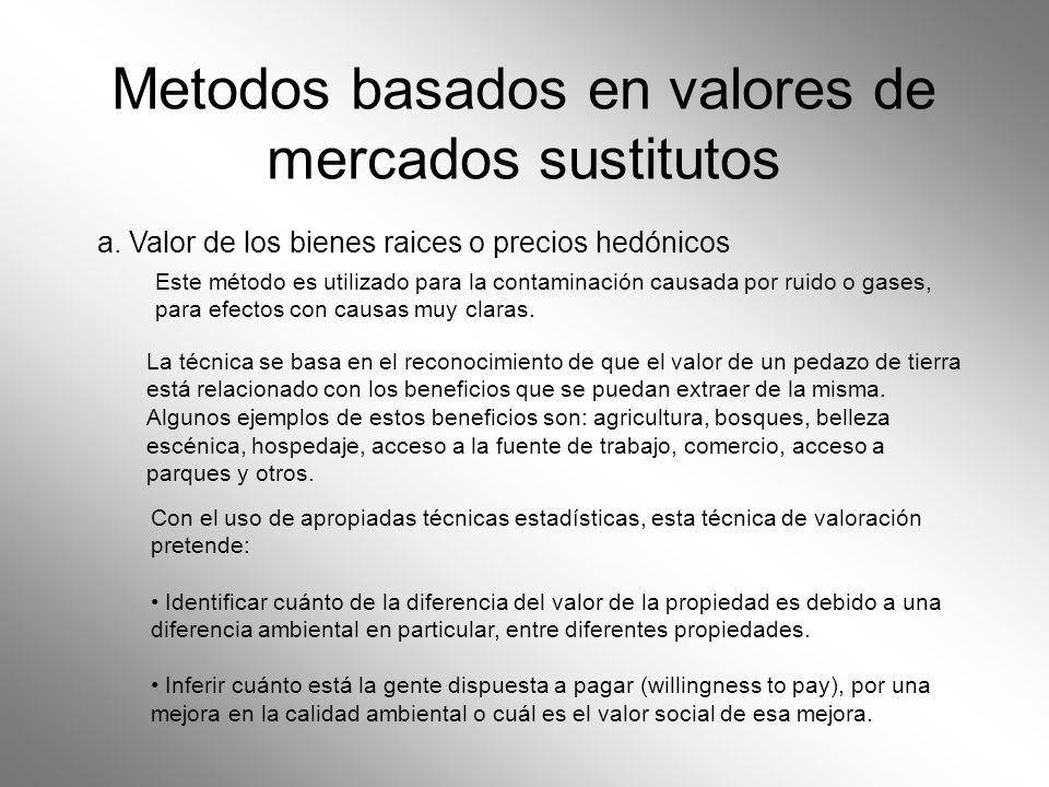 Metodos basados en valores de mercados sustitutos a. Valor de los bienes raices o precios hedónicos La técnica se basa en el reconocimiento de que el