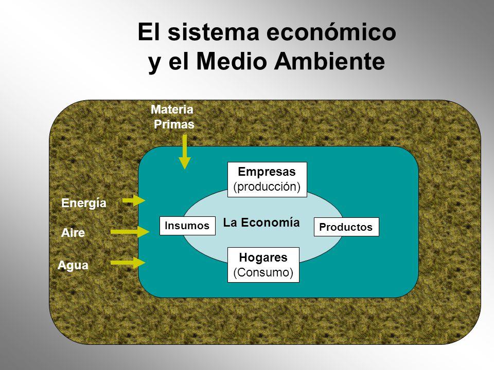 El sistema económico y el Medio Ambiente Energía Aire Agua Empresas (producción) La Economía Hogares (Consumo) Productos Insumos Materia Primas Contaminación del aire Desechos sólidos Calor de Desecho Contaminación De agua