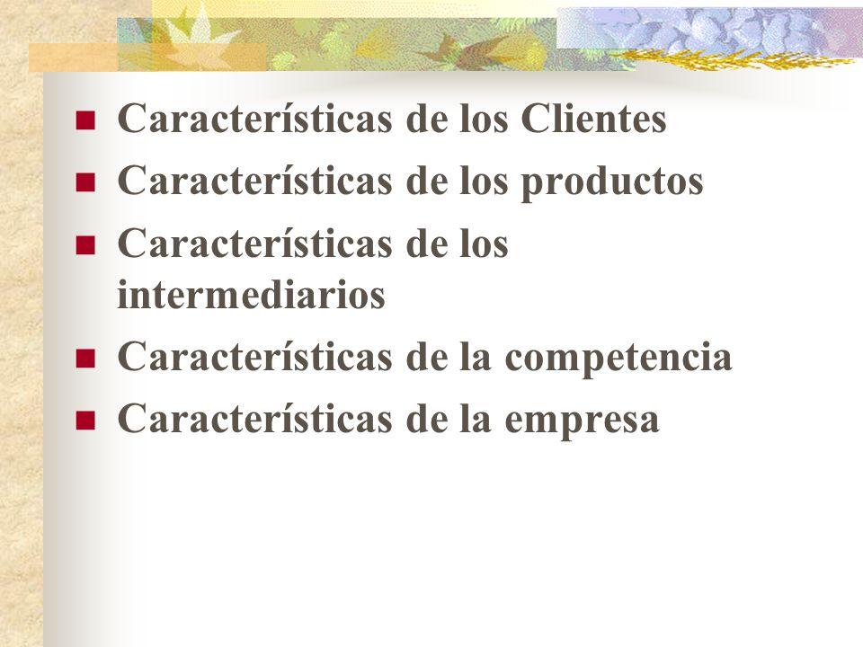 Características de los Clientes Características de los productos Características de los intermediarios Características de la competencia Características de la empresa