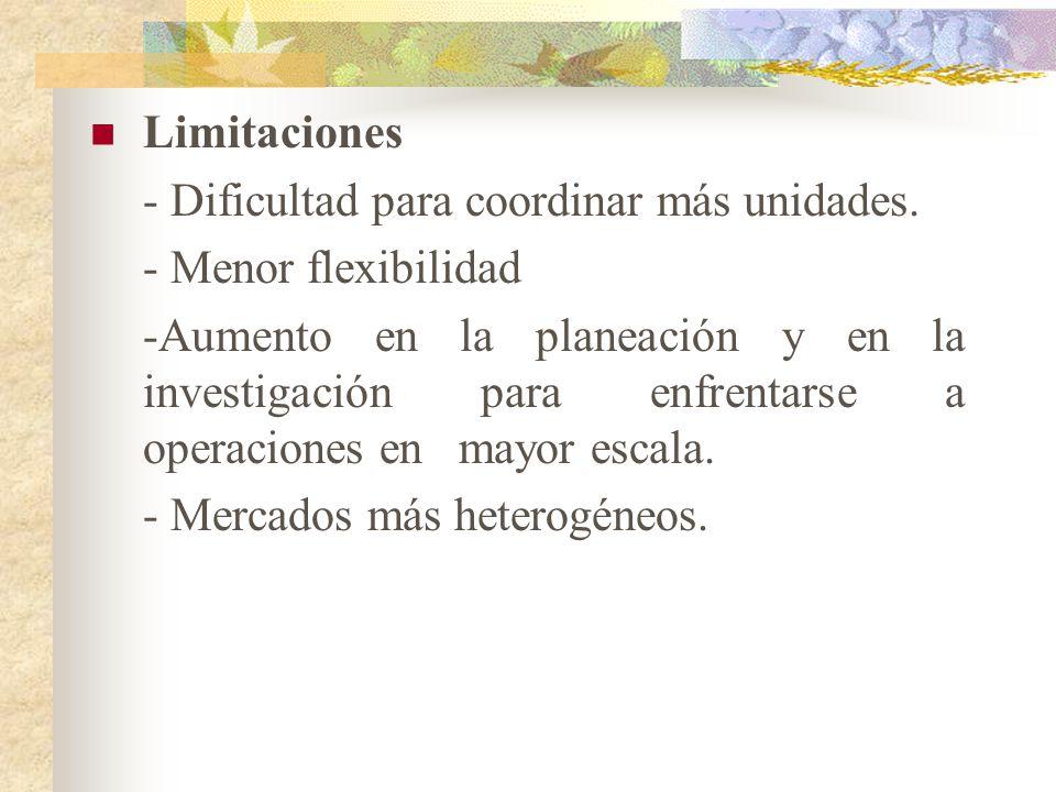 Limitaciones - Dificultad para coordinar más unidades.