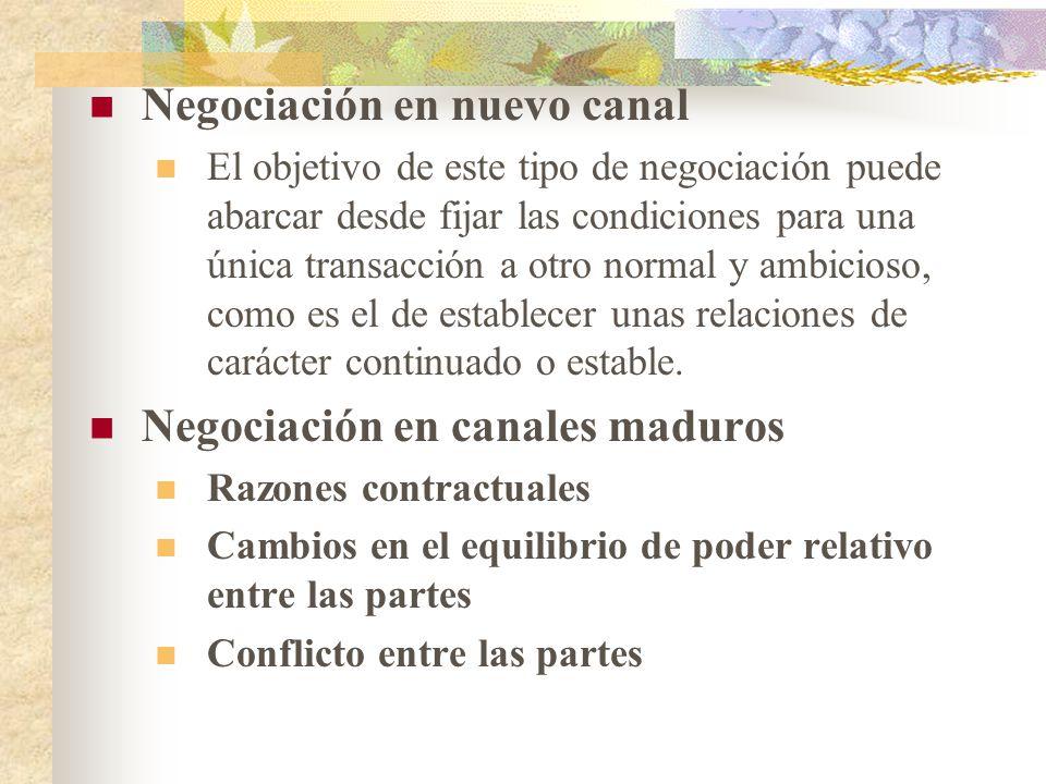 Negociación en nuevo canal El objetivo de este tipo de negociación puede abarcar desde fijar las condiciones para una única transacción a otro normal y ambicioso, como es el de establecer unas relaciones de carácter continuado o estable.