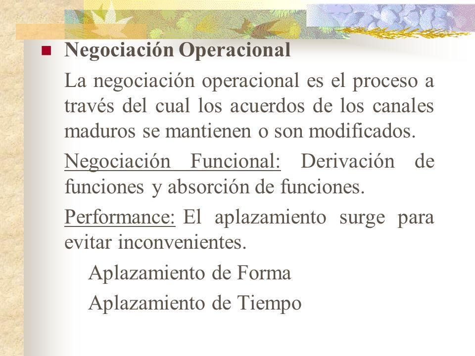 Negociación Operacional La negociación operacional es el proceso a través del cual los acuerdos de los canales maduros se mantienen o son modificados.