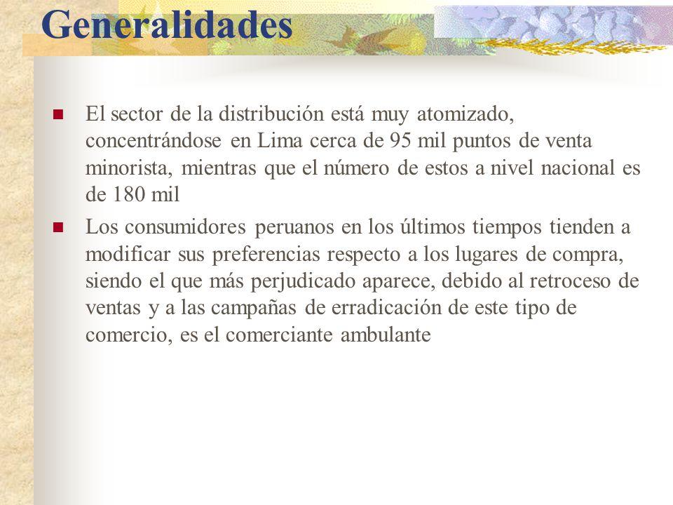 Generalidades El sector de la distribución está muy atomizado, concentrándose en Lima cerca de 95 mil puntos de venta minorista, mientras que el número de estos a nivel nacional es de 180 mil Los consumidores peruanos en los últimos tiempos tienden a modificar sus preferencias respecto a los lugares de compra, siendo el que más perjudicado aparece, debido al retroceso de ventas y a las campañas de erradicación de este tipo de comercio, es el comerciante ambulante
