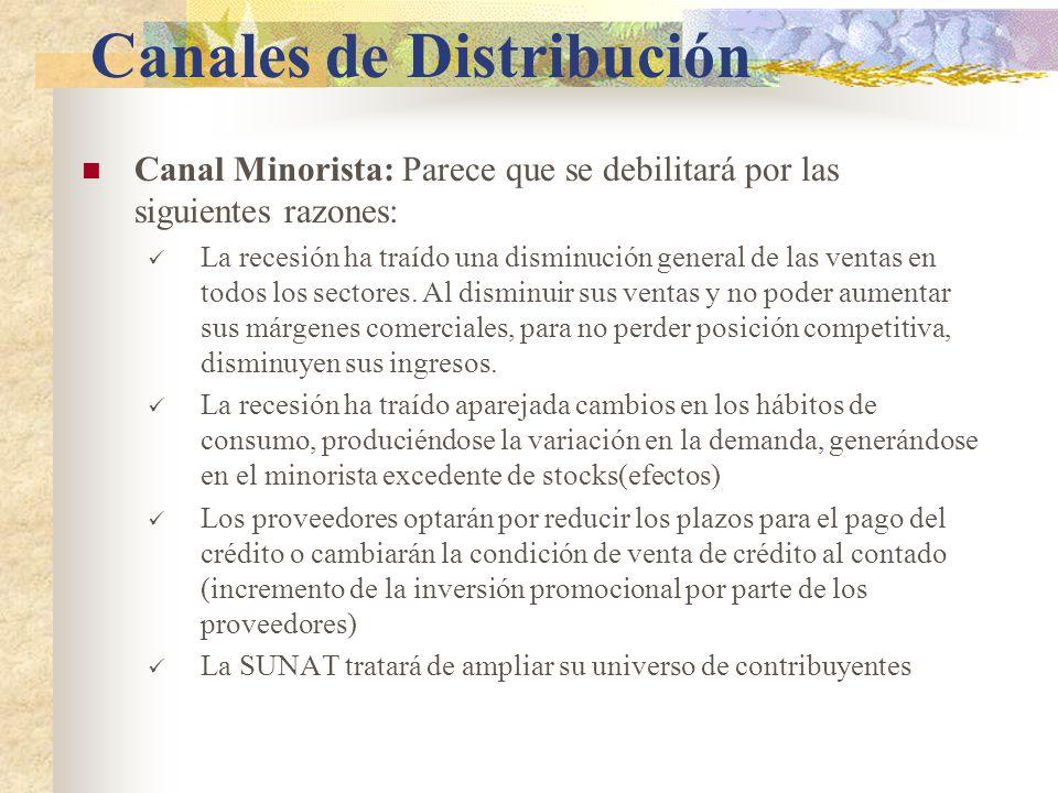 Canales de Distribución Canal Minorista: Parece que se debilitará por las siguientes razones: La recesión ha traído una disminución general de las ventas en todos los sectores.