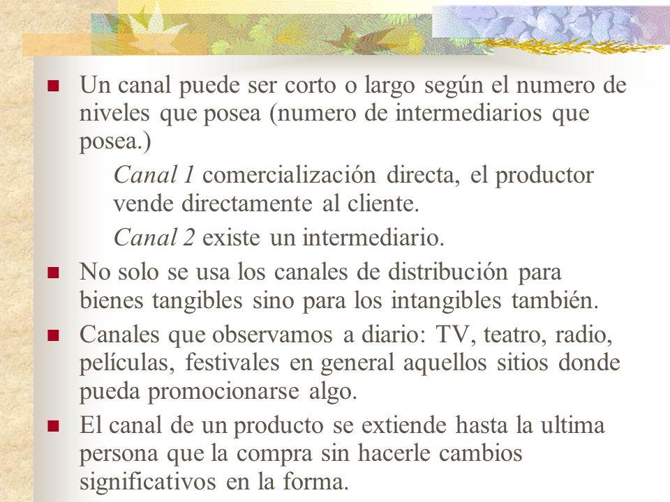TIPOS DE CANALES I.CANALES PARA PRODUCTOS DE CONSUMO a.Productores – Consumidores Forma mas rápida y corta sin intermediarios.