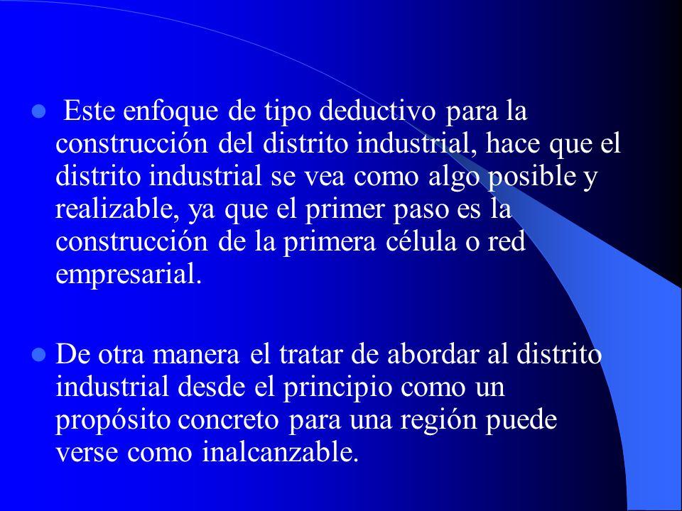 Desde este punto de vista el modelo del distrito industrial o cluster podría verse como un resultado a alcanzar por las empresas de un sector industri