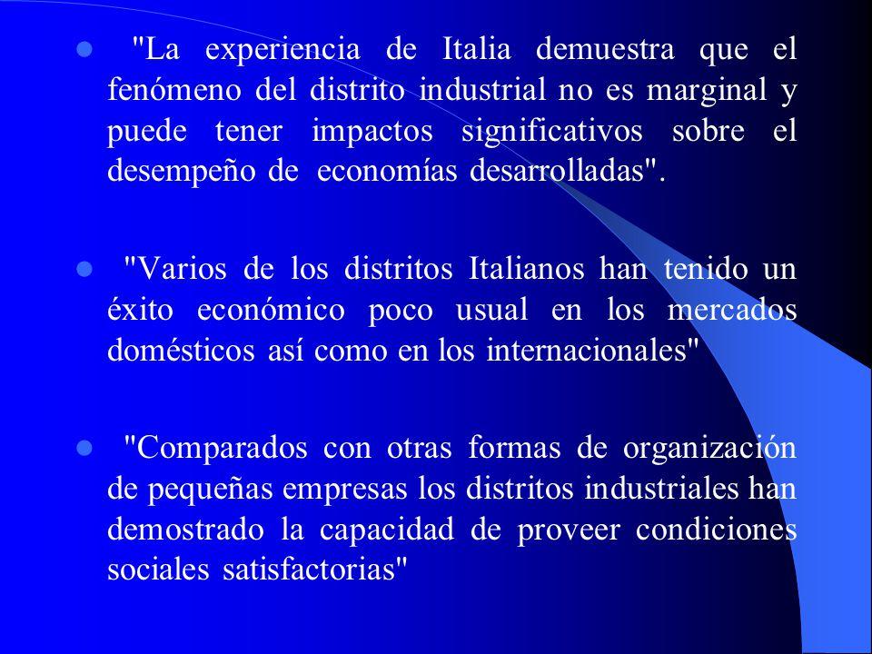 1.2 Breve revisión de las características de los distritos industriales Italianos Un ejemplo exitoso de los favorables resultados que se han alcanzado