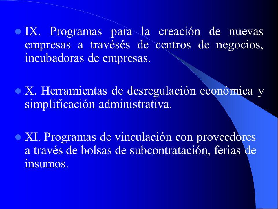 V. Programas capacitación, asesoría empresarial y asistencia técnica. VI. Instrumentos de transferencia de tecnología e innovación. VII. Programas de