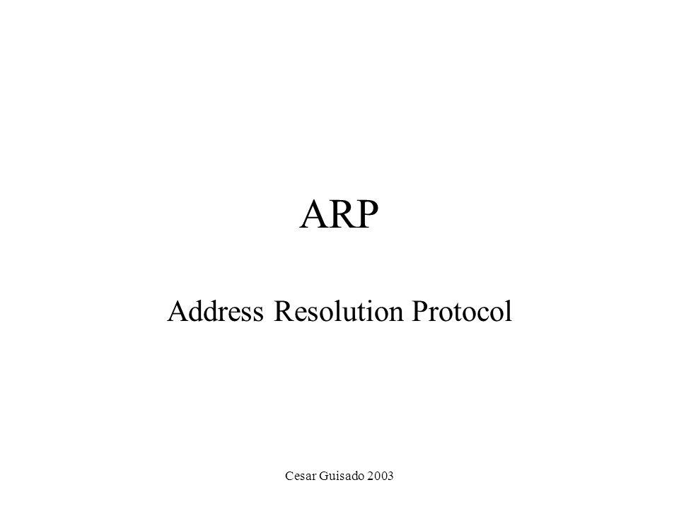 Cesar Guisado 2003 ARP Address Resolution Protocol