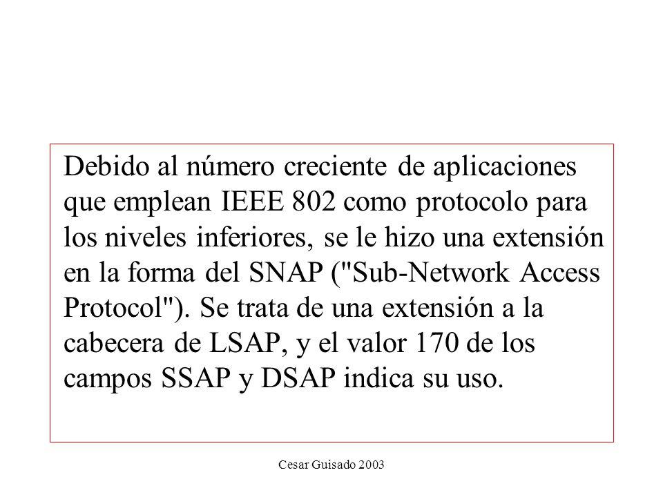 Cesar Guisado 2003 Debido al número creciente de aplicaciones que emplean IEEE 802 como protocolo para los niveles inferiores, se le hizo una extensión en la forma del SNAP ( Sub-Network Access Protocol ).
