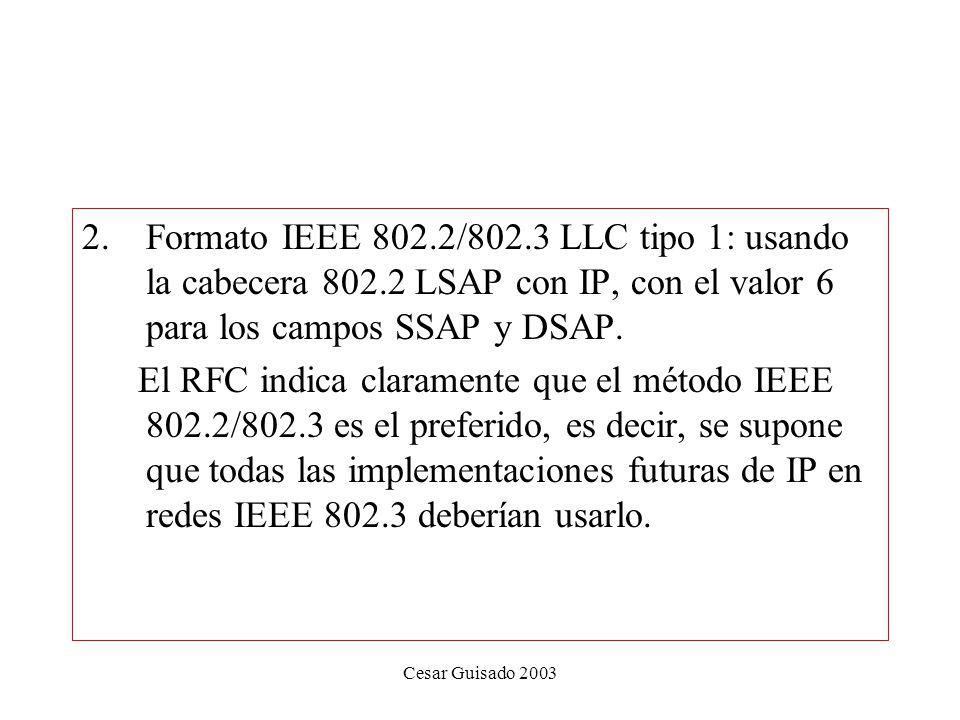 Cesar Guisado 2003 2.Formato IEEE 802.2/802.3 LLC tipo 1: usando la cabecera 802.2 LSAP con IP, con el valor 6 para los campos SSAP y DSAP.