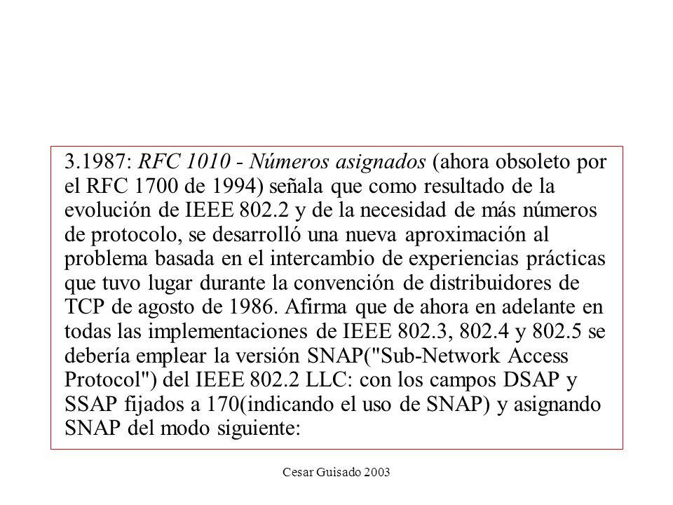 Cesar Guisado 2003 3.1987: RFC 1010 - Números asignados (ahora obsoleto por el RFC 1700 de 1994) señala que como resultado de la evolución de IEEE 802.2 y de la necesidad de más números de protocolo, se desarrolló una nueva aproximación al problema basada en el intercambio de experiencias prácticas que tuvo lugar durante la convención de distribuidores de TCP de agosto de 1986.