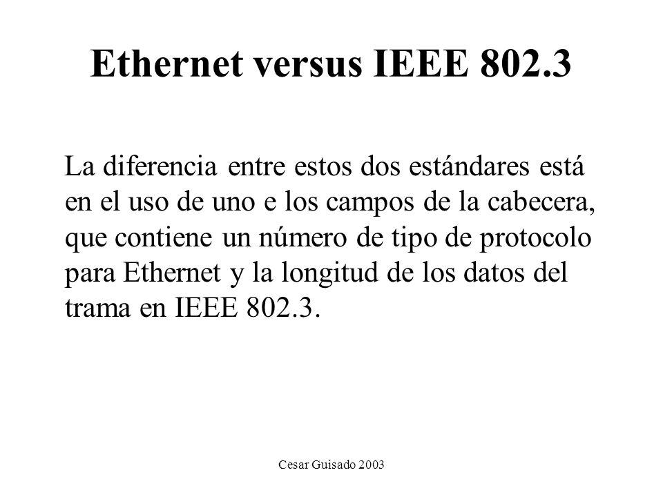 Cesar Guisado 2003 Ethernet versus IEEE 802.3 La diferencia entre estos dos estándares está en el uso de uno e los campos de la cabecera, que contiene un número de tipo de protocolo para Ethernet y la longitud de los datos del trama en IEEE 802.3.