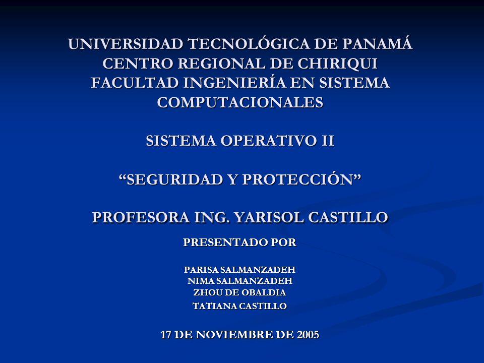 UNIVERSIDAD TECNOLÓGICA DE PANAMÁ CENTRO REGIONAL DE CHIRIQUI FACULTAD INGENIERÍA EN SISTEMA COMPUTACIONALES SISTEMA OPERATIVO II SEGURIDAD Y PROTECCIÓN PROFESORA ING.