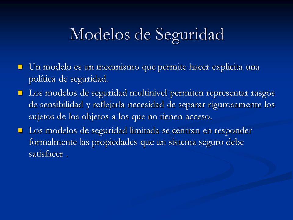 Modelos de Seguridad Un modelo es un mecanismo que permite hacer explicita una política de seguridad.