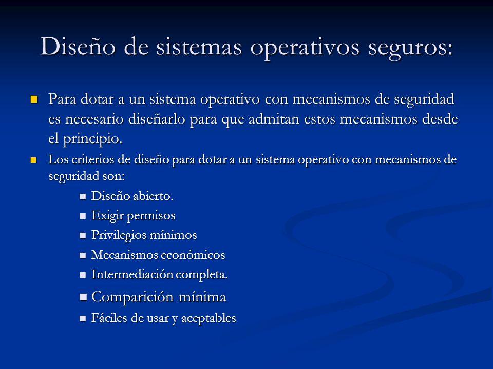 Diseño de sistemas operativos seguros: Para dotar a un sistema operativo con mecanismos de seguridad es necesario diseñarlo para que admitan estos mecanismos desde el principio.