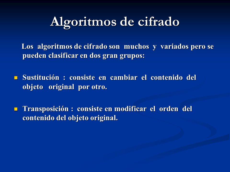 Algoritmos de cifrado Los algoritmos de cifrado son muchos y variados pero se pueden clasificar en dos gran grupos: Los algoritmos de cifrado son muchos y variados pero se pueden clasificar en dos gran grupos: Sustitución : consiste en cambiar el contenido del objeto original por otro.