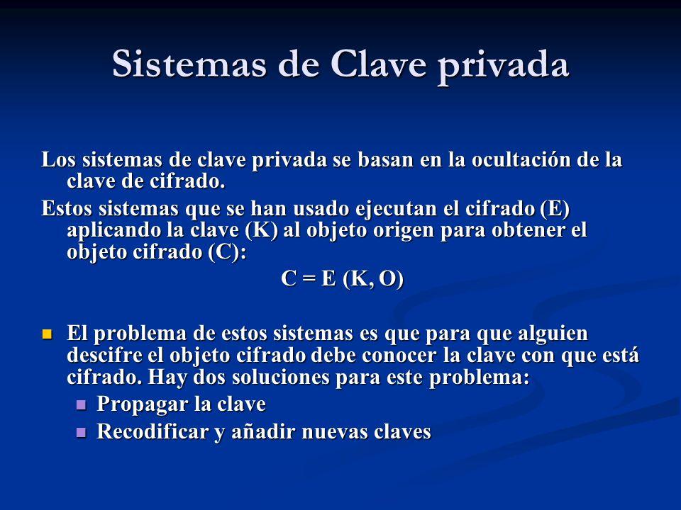 Sistemas de Clave privada Los sistemas de clave privada se basan en la ocultación de la clave de cifrado.