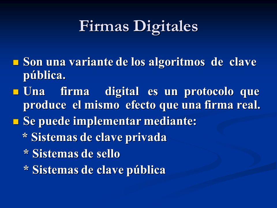 Firmas Digitales Son una variante de los algoritmos de clave pública.