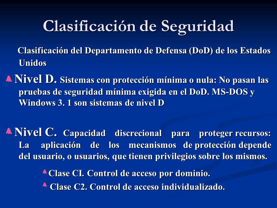Clasificación de Seguridad Clasificación del Departamento de Defensa (DoD) de los Estados Unidos Clasificación del Departamento de Defensa (DoD) de los Estados Unidos Nivel D.