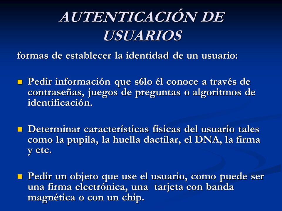 AUTENTICACIÓN DE USUARIOS formas de establecer la identidad de un usuario: Pedir información que s6lo él conoce a través de contraseñas, juegos de preguntas o algoritmos de identificación.