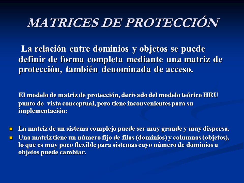 MATRICES DE PROTECCIÓN La relación entre dominios y objetos se puede definir de forma completa mediante una matriz de protección, también denominada de acceso.