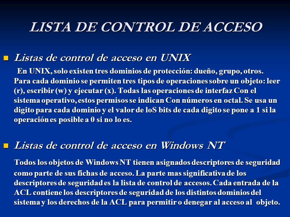 LISTA DE CONTROL DE ACCESO Listas de control de acceso en UNIX Listas de control de acceso en UNIX En UNIX, solo existen tres dominios de protección: dueño, grupo, otros.