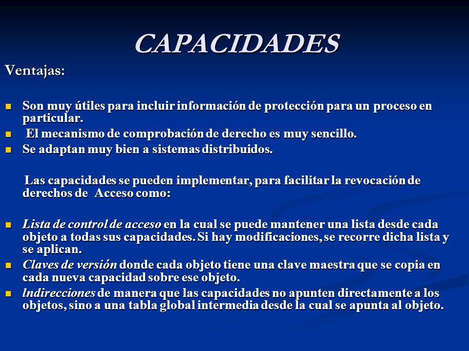 CAPACIDADES Ventajas: Son muy útiles para incluir información de protección para un proceso en particular.