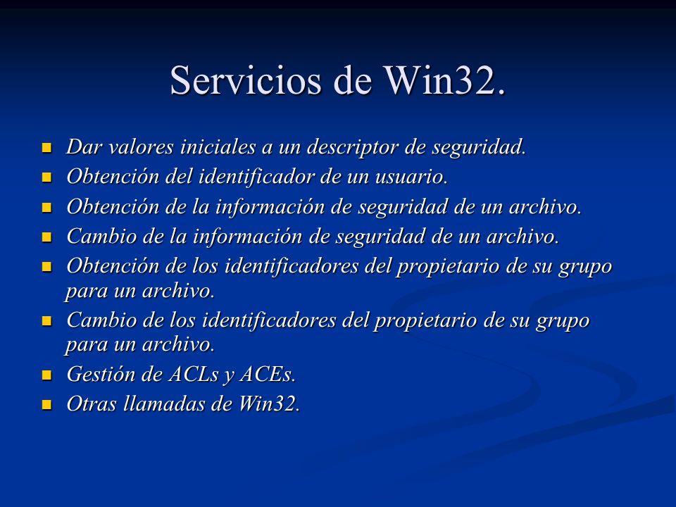 Servicios de Win32.Dar valores iniciales a un descriptor de seguridad.