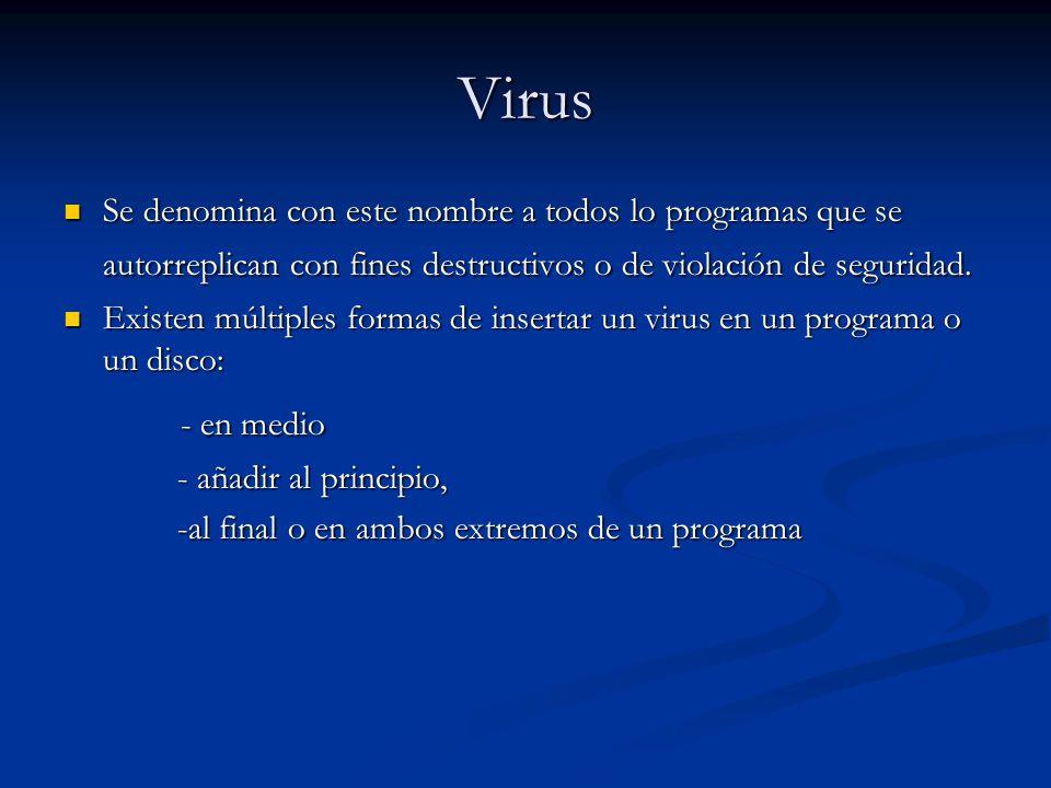 Virus Se denomina con este nombre a todos lo programas que se autorreplican con fines destructivos o de violación de seguridad.