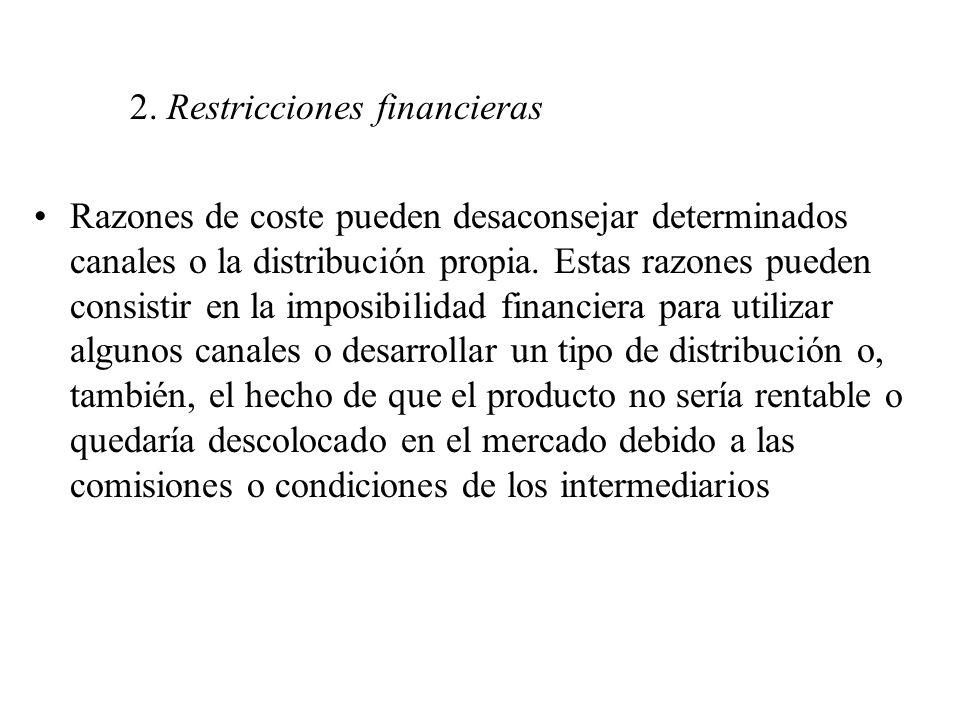 2. Restricciones financieras Razones de coste pueden desaconsejar determinados canales o la distribución propia. Estas razones pueden consistir en la