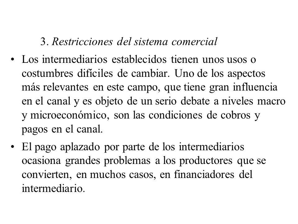 3. Restricciones del sistema comercial Los intermediarios establecidos tienen unos usos o costumbres difíciles de cambiar. Uno de los aspectos más rel