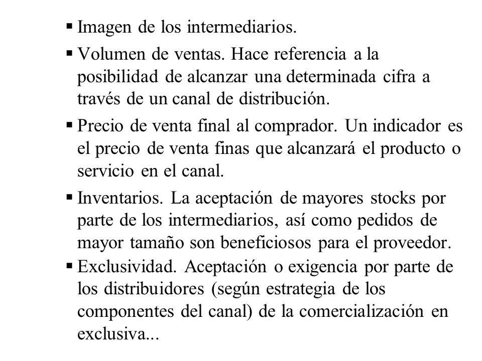 Imagen de los intermediarios.Volumen de ventas.