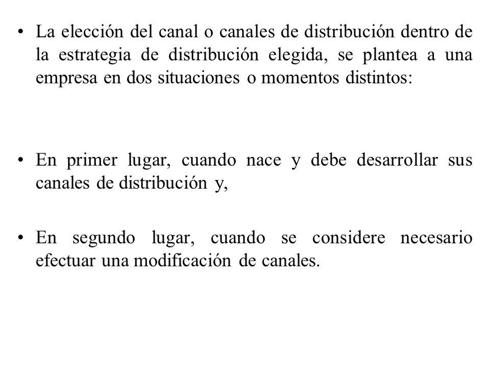 Creación de canales: Cuando nace una empresa ha de crear su sistema de distribución.