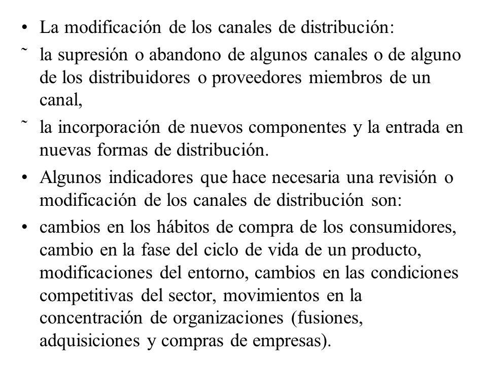 La modificación de los canales de distribución: ˜la supresión o abandono de algunos canales o de alguno de los distribuidores o proveedores miembros de un canal, ˜la incorporación de nuevos componentes y la entrada en nuevas formas de distribución.