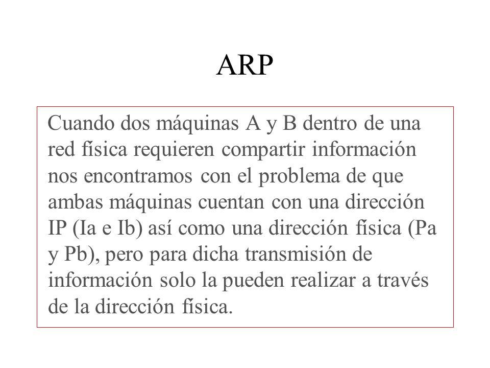 ARP Del mismo modo las computadoras que contestan el mensaje de difusión almacenan las direcciones de la máquina que solicito la comunicación.