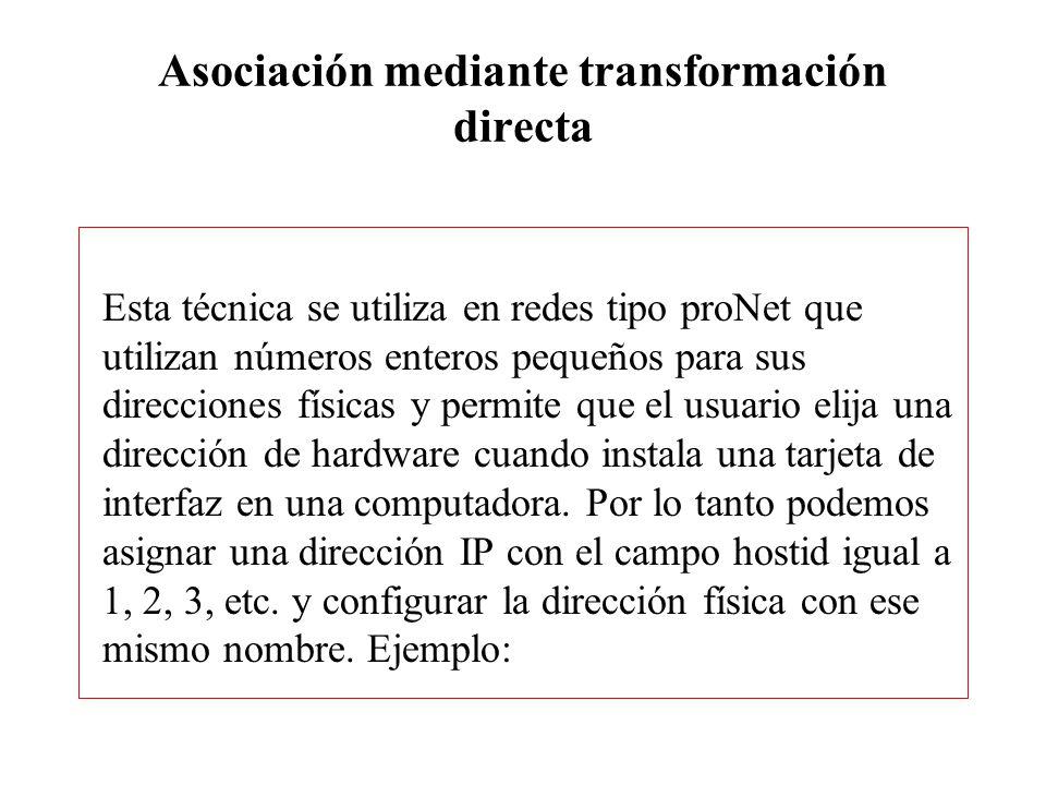 ARP Dirección IP Dirección física 192.5.48.3 3 Por lo tanto la asociación mediante transformación directa se basa en crear una función que resuelva la conversión entre direcciones IP y físicas de acuerdo al esquema de numeración que se utilizó en la instalación de la tarjeta de interfaz.