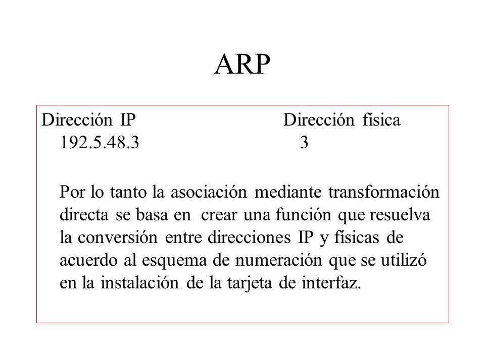 ARP Pa = f(la) Pero este tipo de conversión se dificulta en redes donde no se puede elegir la dirección física como es el caso de redes orientadas a la conexión como ATM.