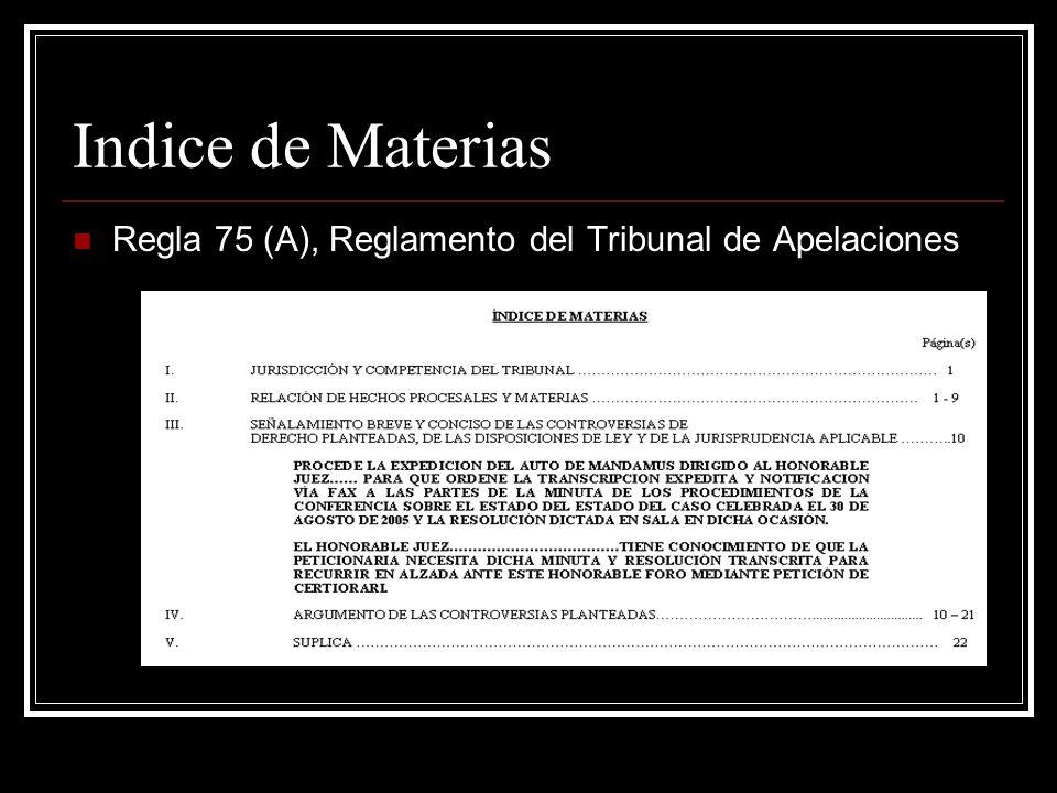 Índice Legal Regla 75 (B), Reglamento del Tribunal de Apelaciones