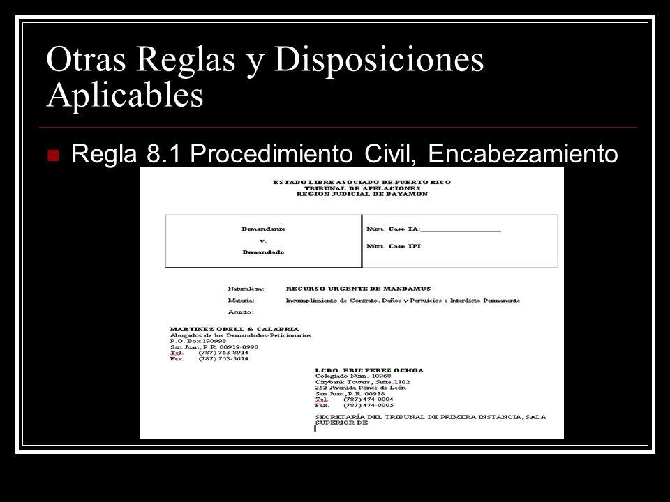 Otras Reglas y Disposiciones Aplicables Regla 3.1 Procedimiento Civil, Competencia