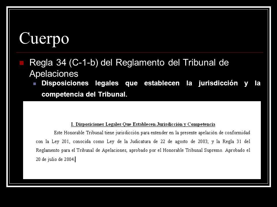 Cuerpo Regla 34 (C-1-c) del Reglamento del Tribunal de Apelaciones Sentencia Cuya Revisión Se Solicita