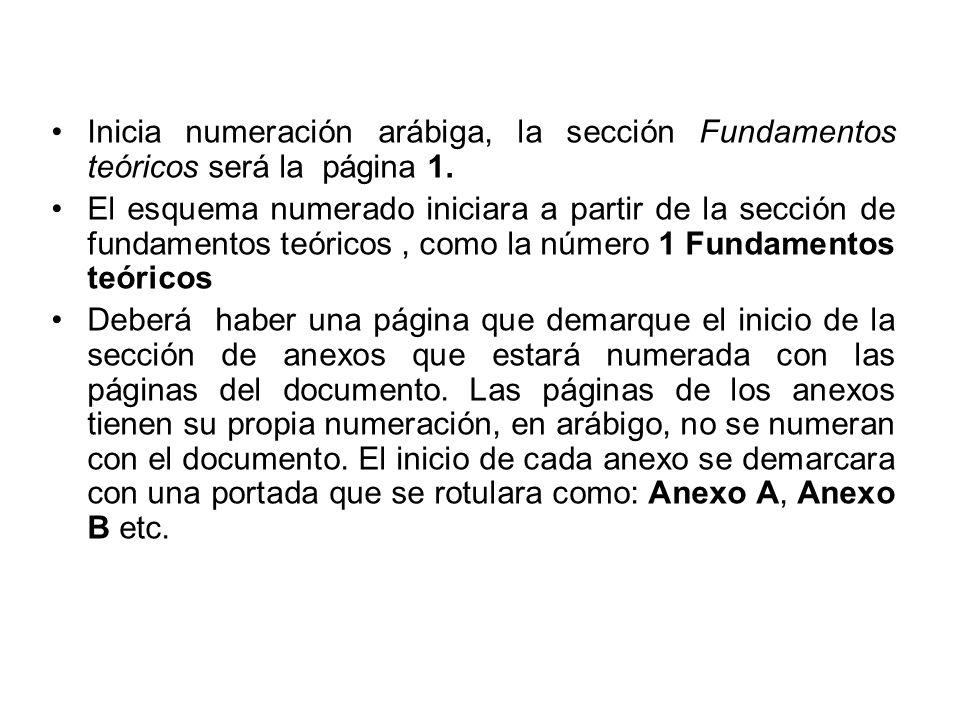 Inicia numeración arábiga, la sección Fundamentos teóricos será la página 1.
