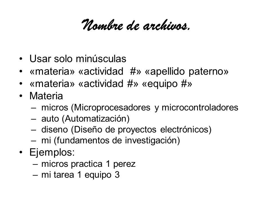 Actividades microprocesadores practica – 1,2,3 …. informe –1,2,3…..f tarea –1,2,3… articulo –pre, f