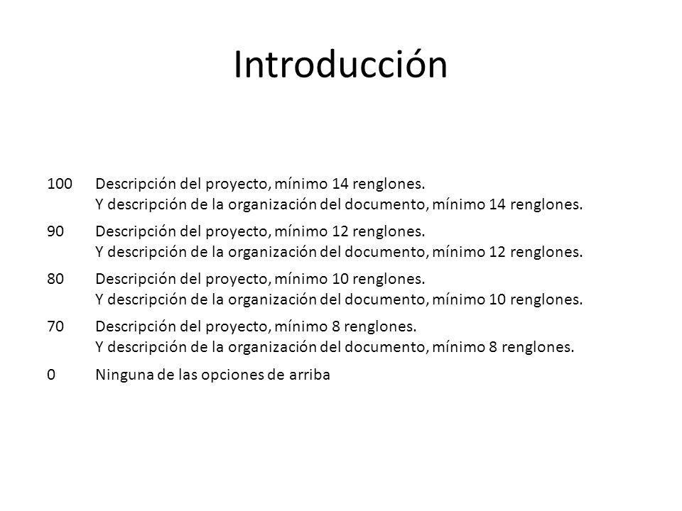 Introducción 100Descripción del proyecto, mínimo 14 renglones.