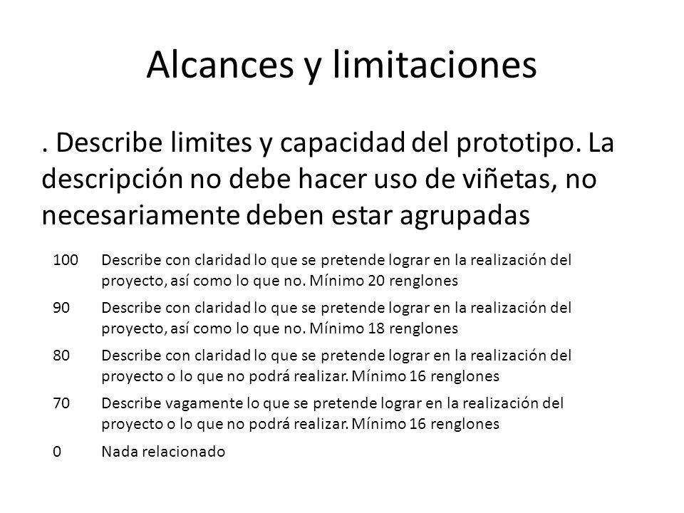 Alcances y limitaciones.Describe limites y capacidad del prototipo.