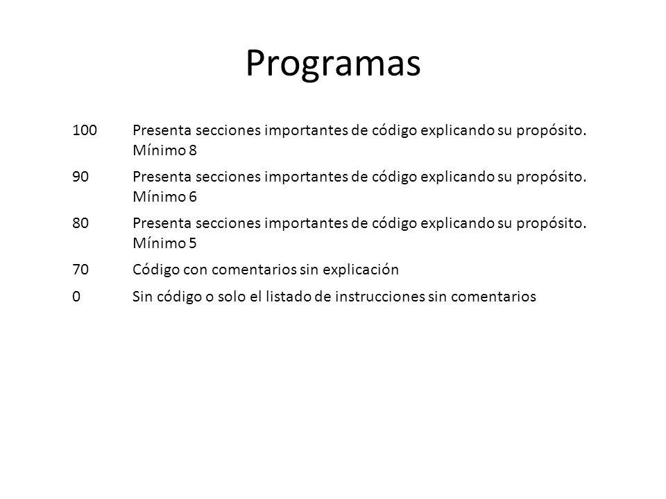 Programas 100Presenta secciones importantes de código explicando su propósito.