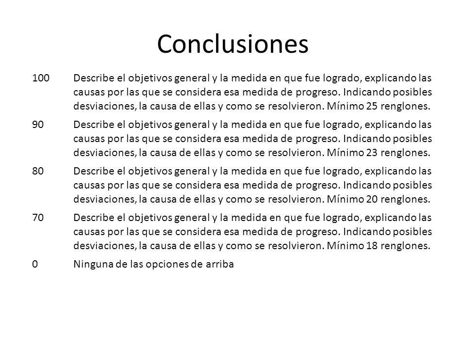 Conclusiones 100Describe el objetivos general y la medida en que fue logrado, explicando las causas por las que se considera esa medida de progreso.