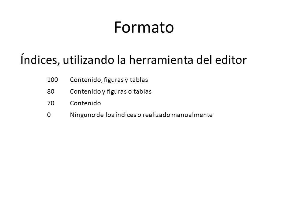 Formato Índices, utilizando la herramienta del editor 100Contenido, figuras y tablas 80Contenido y figuras o tablas 70Contenido 0Ninguno de los índices o realizado manualmente