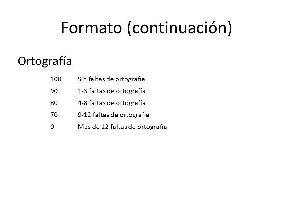 Formato (continuación) Ortografía 100Sin faltas de ortografía 901-3 faltas de ortografía 804-8 faltas de ortografía 709-12 faltas de ortografía 0Mas de 12 faltas de ortografía