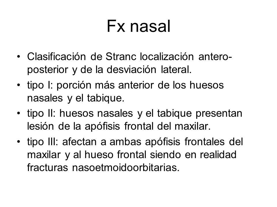 Fx nasal Clasificación de Stranc localización antero- posterior y de la desviación lateral. tipo I: porción más anterior de los huesos nasales y el ta